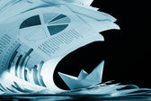 Business concept, paper boat and tsunami documents — Stock Photo