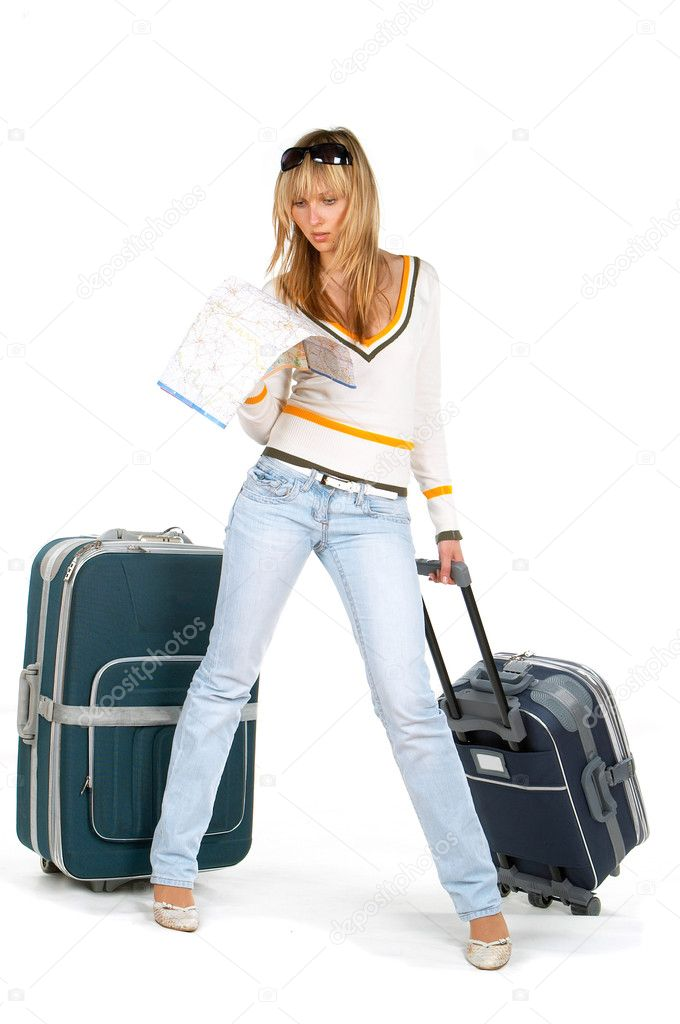 The girl with a suitcase and a map — Stock Photo #9768171