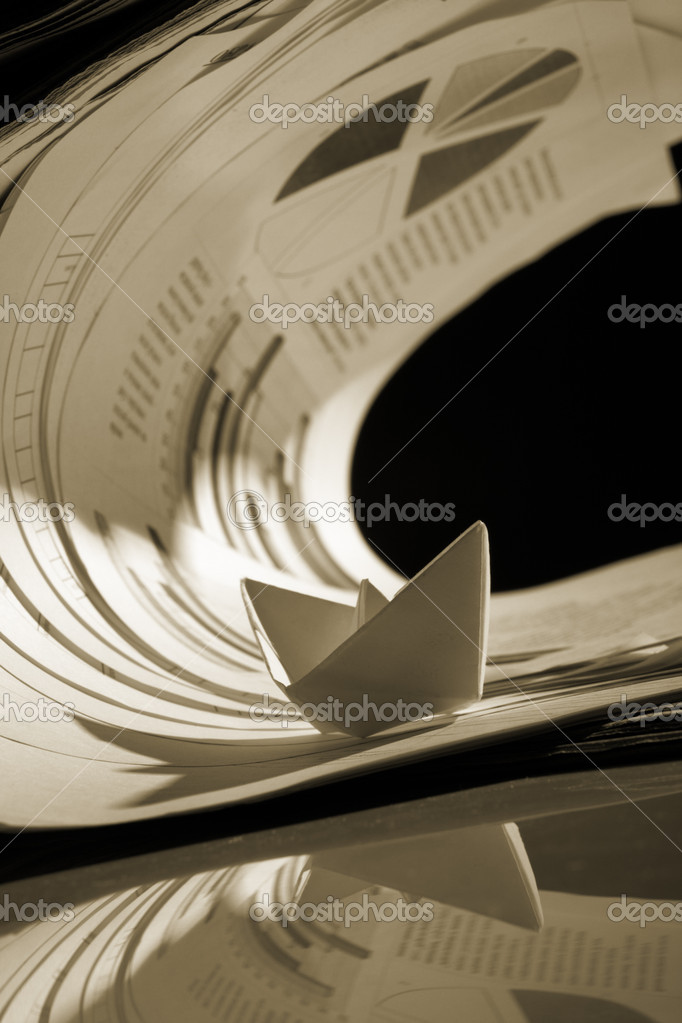 Business concept, paper boat and tsunami documents  Stock Photo #9768748