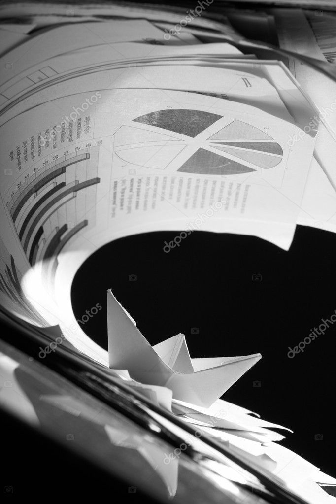 Business concept, paper boat and tsunami documents — Stock Photo #9769187