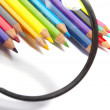 Color pencils, magnifier — Stock Photo #9833179