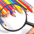 Color pencils, magnifier — Stockfoto #9833913