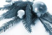 Blauwe ballen, kerst — Stockfoto