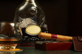 Classic cognac bottle, cigar — Stockfoto