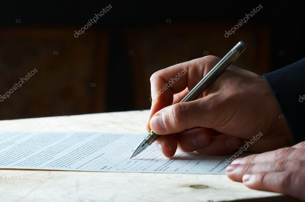 Pen work hand work, signature  Stock Photo #9869619