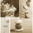 Garden of stones, feng-shui, sakura, - Stock Photo
