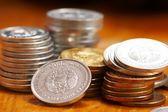 Silver and gold coins — Stock Photo