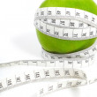 Stock Photo: Green apples measured meter, sports apples