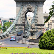 Traffic circle and chain bridge in Budapest, Hungary — Stock Photo #8977560