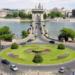 Traffic circle and chain bridge in Budapest, Hungary - Stock Photo