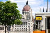Tramway and parliament building in Budapest, Hungary — Stock Photo