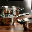 Stainless steel pot with cover in kitchen — Stock Photo