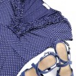 Blue spotted blouse and sandal — Stock Photo