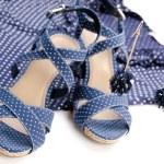 Blue earring, blouse, sandal — Stock Photo