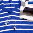 Blue striped sweater and earring — Photo