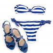 Striped bikini and spotted sandal — Stok fotoğraf