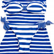 Blue-white striped bikini — 图库照片
