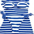 Blue-white striped bikini — Stockfoto