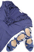 Blue spotted blouse and sandal — Zdjęcie stockowe