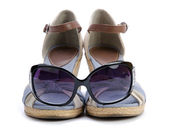 Sandal with sunglasses isolated — Stock Photo