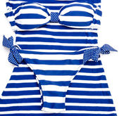 Blue-white striped bikini — Stock Photo