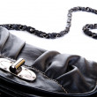Black purse closeup — Foto Stock