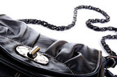 Black purse closeup — Stock Photo