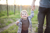 Father with little son outdoor portrait — Stock Photo