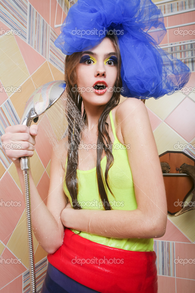 Beautiful attractive girl taking shower — Stock Photo #9281841