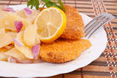 Hake fillets and potato salad — Stock Photo