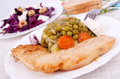 Chicken with pea — Stock Photo