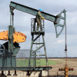 Oil and fuel industry oil worker standing on the pump jack — Stock Photo #10013198