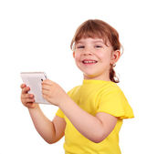 Happy little girl holding tablet pc — Stock Photo