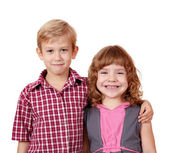 Boy and little girl posing — Stock Photo
