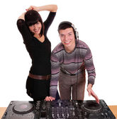 Dj and girl techno party — Stock Photo