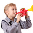 Boy with trumpet — Stock Photo