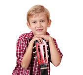 Boy with guitar portrait — Stock Photo