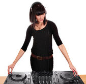 Girl party dj with turntables — Stock Photo