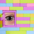 Toy brick wall with window and eye — Stock Photo #8721459