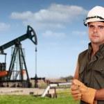 Oil industry oil worker posing — Stock Photo