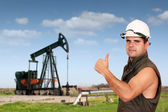 Oil worker success — Stock Photo