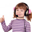 Stock Photo: Little girl with headphones and thumb up