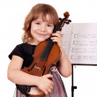 Little girl with violin posing — Stock Photo