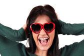 Bella ragazza con piercing lingua — Foto Stock