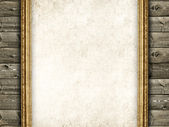 Wood, sheet and picture frame - Grunge background — Stock Photo
