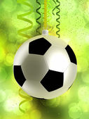 Football like christmas bauble — Stock Photo