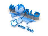 Global network - internet symbols, concept illustration — Stock Photo