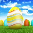 Easter eggs on spring background — Stock Photo