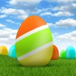 Easter eggs on beautiful nature background — Stock Photo