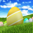 Easter eggs on spring nature background — Stock Photo